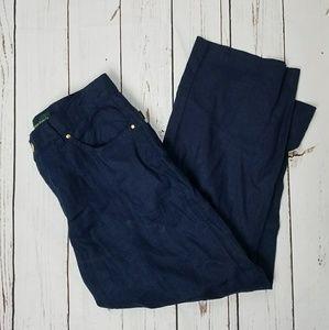 Ralph Lauren Linen Navy Blue Capri Pants